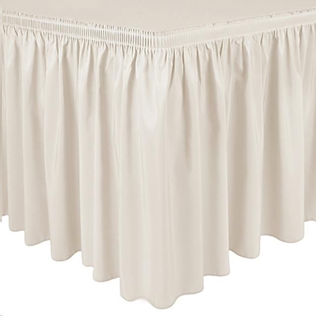 Where to find 7 L X 30  DROP IVORY SHIRRED POLY SKIRT in Raleigh